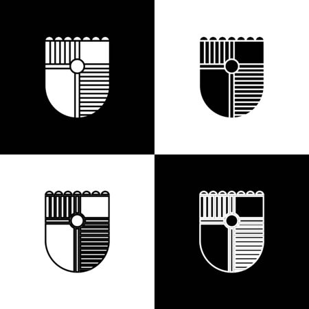 Set Shield for game icon isolated on black and white background. Vector Illustration Ilustrace