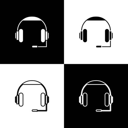 Set Headphones icon isolated on black and white background. Earphones. Concept for listening to music, service, communication and operator. Vector Illustration Foto de archivo - 138469985