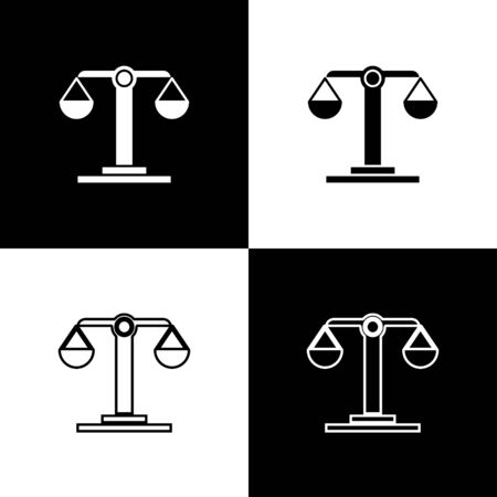 Set Libra zodiac sign icon isolated on black and white background. Astrological horoscope collection. Vector Illustration