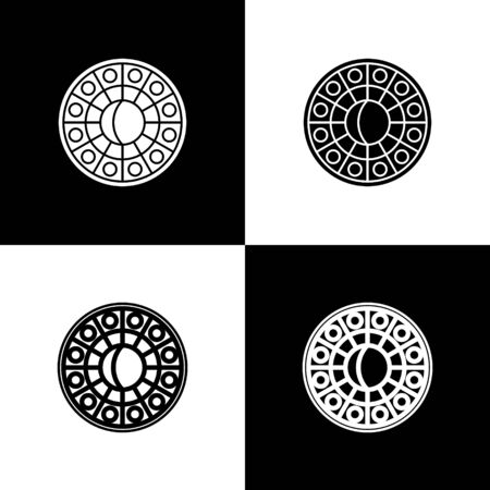Set Astrology horoscope circle with zodiac icon isolated on black and white background. Vector Illustration