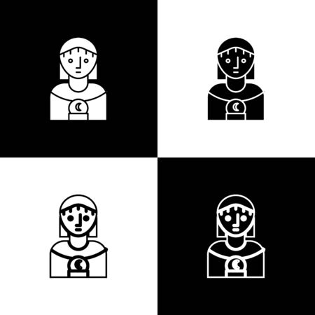 Set Astrology woman icon isolated on black and white background. Vector Illustration Illusztráció