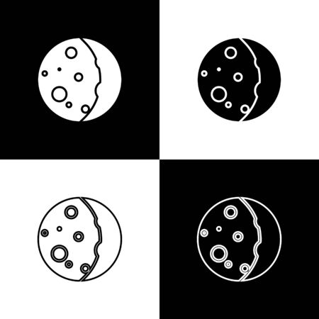 Set Eclipse of the sun icon isolated on black and white background. Total sonar eclipse. Vector Illustration
