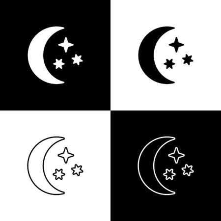 Set Moon and stars icon isolated on black and white background. Vector Illustration