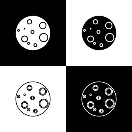 Set Moon icon isolated on black and white background. Vector Illustration Ilustracja