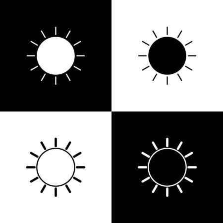 Set Sun icon isolated on black and white background. Vector Illustration