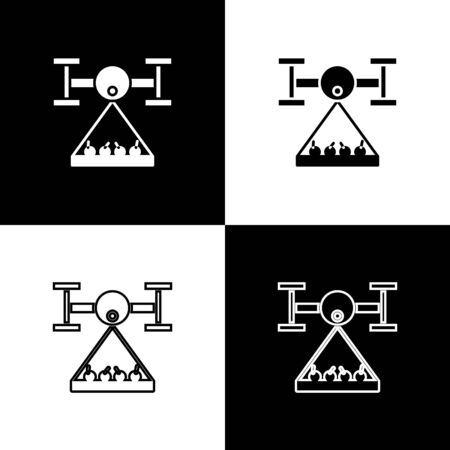 Set Smart farm with drone control collects harvest icon isolated on black and white background. Innovation technology for agricultural company. Vector Illustration Illustration
