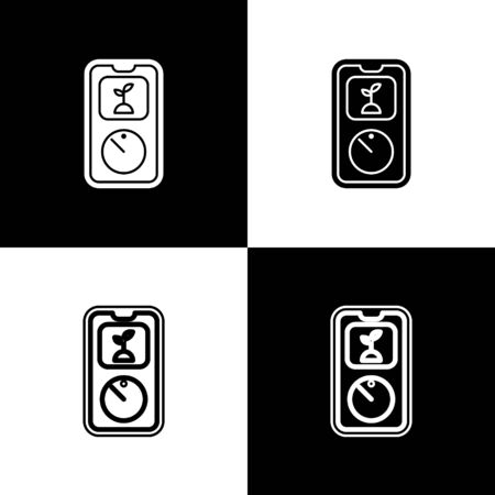 Set Smart farming technology - timer farm automation system in app icon isolated on black and white background. Vector Illustration