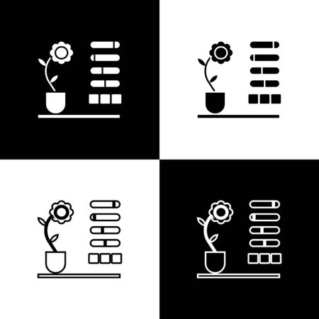Set Flower status icon isolated on black and white background. Vector Illustration