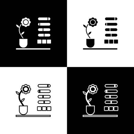 Set Flower status icon isolated on black and white background. Vector Illustration Ilustracja