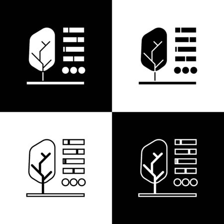 Set Plant status icon isolated on black and white background. Vector Illustration