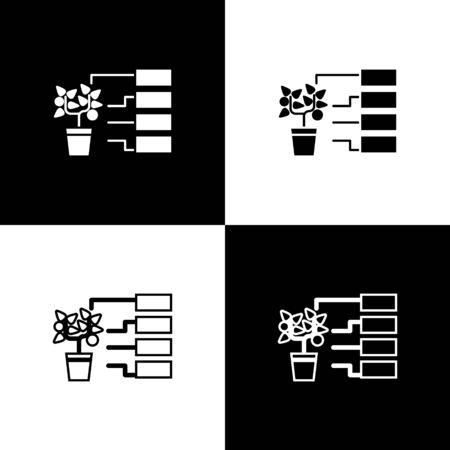 Set Flower analysis icon isolated on black and white background. Vector Illustration