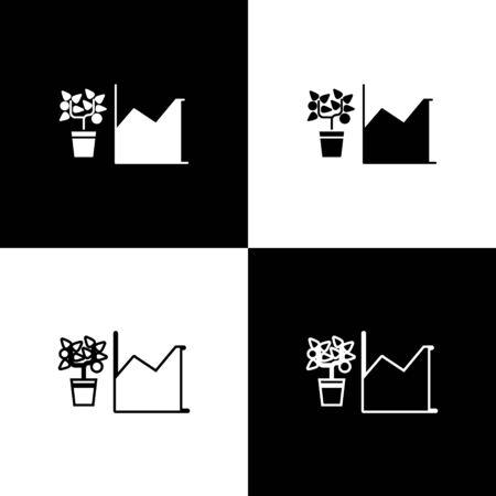 Set Flower statistics icon isolated on black and white background. Vector Illustration
