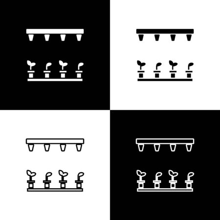 Set Automatic irrigation sprinklers icon isolated on black and white background. Watering equipment. Garden element. Spray gun icon. Vector Illustration Archivio Fotografico - 138471254