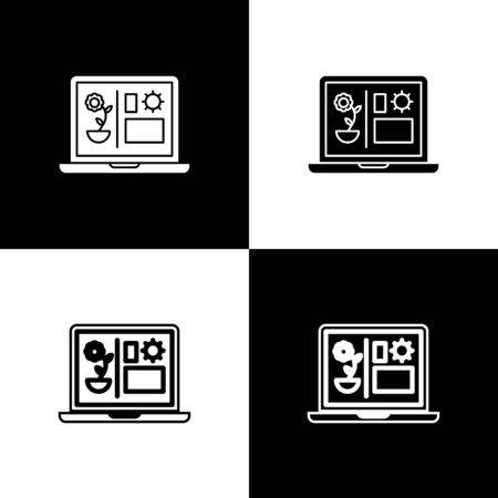 Set Smart farming technology - farm automation system icon isolated on black and white background. Vector Illustration