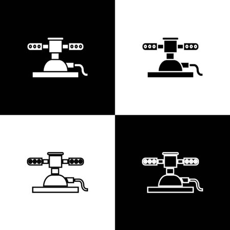Set Automatic irrigation sprinklers icon isolated on black and white background. Watering equipment. Garden element. Spray gun icon. Vector Illustration Archivio Fotografico - 138470907