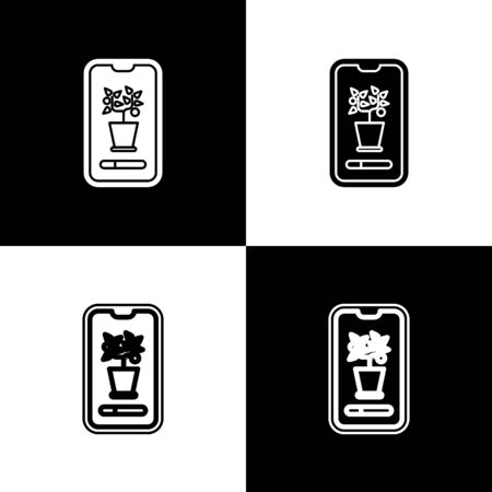 Set Smart control farming system mobile application icon isolated on black and white background. Vector Illustration