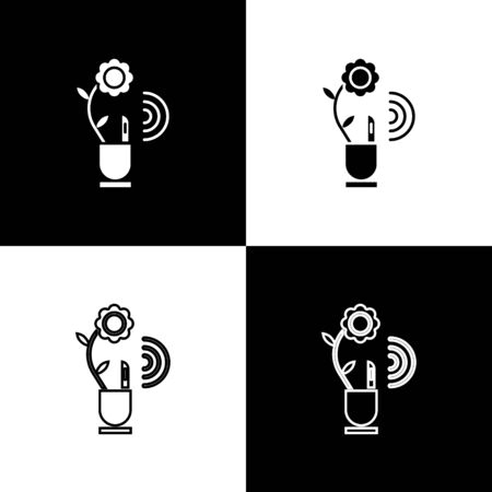 Set Smart farming technology - farm automation system in app icon isolated on black and white background. Vector Illustration Illustration