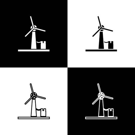 Set Wind turbine icon isolated on black and white background. Wind generator sign. Windmill for electric power production. Vector Illustration