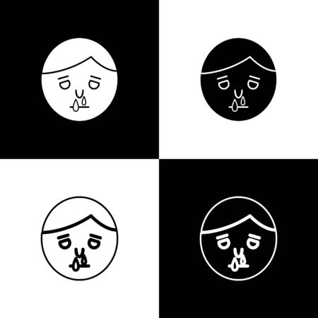 Set Runny nose icon isolated on black and white background. Rhinitis symptoms, treatment. Nose and sneezing. Nasal diseases. Vector Illustration
