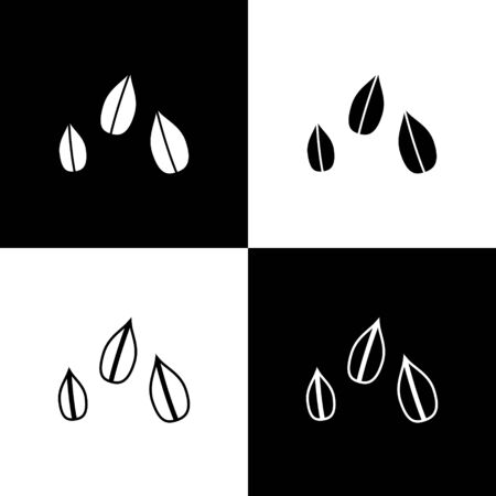 Set Sesame seeds icon isolated on black and white background. Vector Illustration Illustration