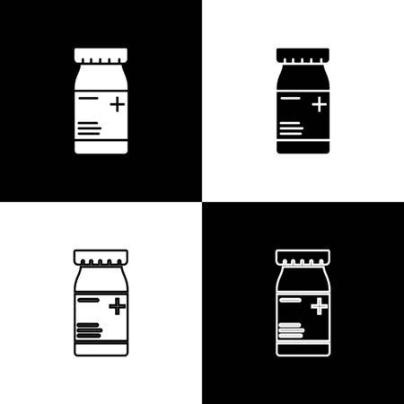Set Medicine bottle and pills icon isolated on black and white background. Bottle pill sign. Pharmacy design. Vector Illustration Ilustracja
