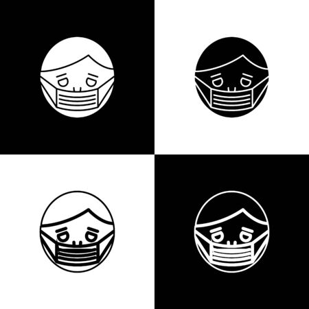 Set Man face in a medical protective mask icon isolated on black and white background. Quarantine. Vector Illustration