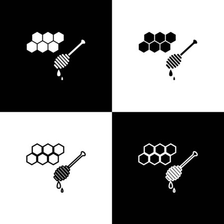 Set Honeycomb with honey dipper stickicon isolated on black and white background. Honey ladle. Honey cells symbol. Sweet natural food. Vector Illustration