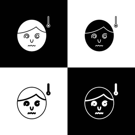Set High human body temperature or get fever icon isolated on black and white background. Disease, cold, flu symptom. Vector Illustration Ilustrace