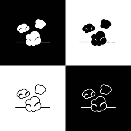 Set Dust icon isolated on black and white background. Vector Illustration
