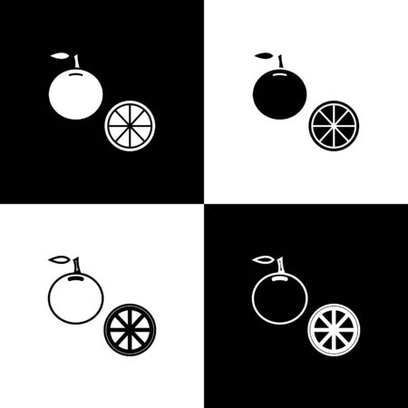 Set Orange fruit icon isolated on black and white background. Vector Illustration Archivio Fotografico - 138471090