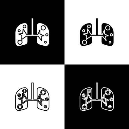 Set Lungs icon isolated on black and white background. Vector Illustration Ilustracja