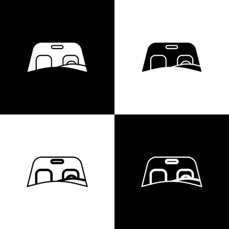 Set Car windscreen icon isolated on black and white background. Vector Illustration