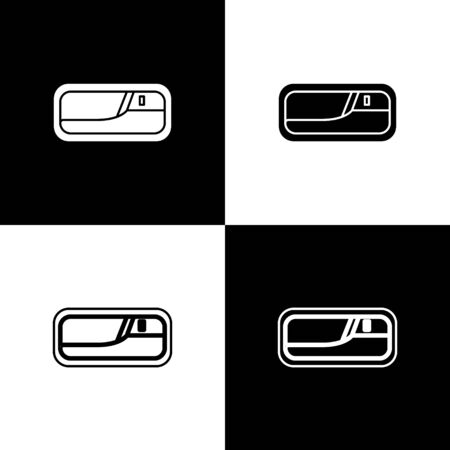 Set Car door handle icon isolated on black and white background. Vector Illustration Standard-Bild - 138471104