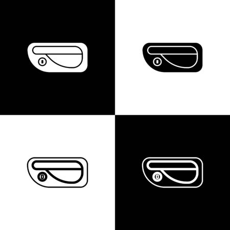 Set Car door handle icon isolated on black and white background. Vector Illustration Standard-Bild - 138471106