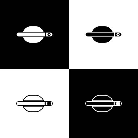 Set Car door handle icon isolated on black and white background. Vector Illustration Standard-Bild - 138471235