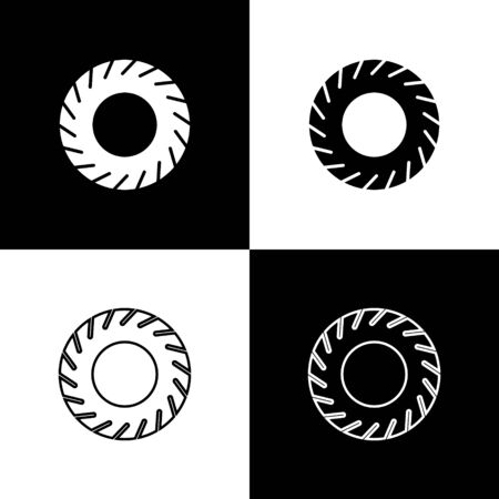 Set Car tire icon isolated on black and white background. Vector Illustration