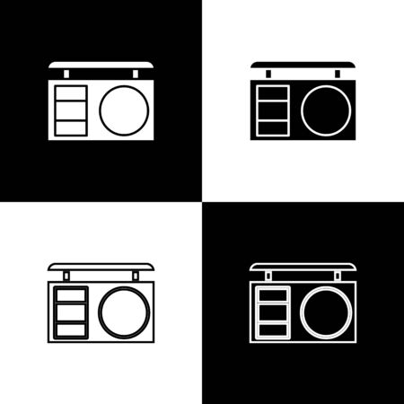 Set Eye shadow palette with brush icon isolated on black and white background. Vector Illustration