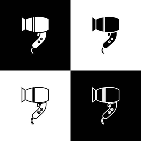 Set Hair dryer icon isolated on black and white background. Hairdryer sign. Hair drying symbol. Blowing hot air. Vector Illustration