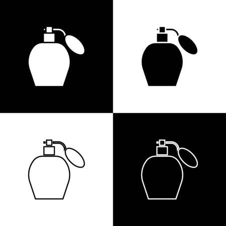 Set Perfume icon isolated on black and white background. Vector Illustration
