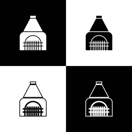 Set Interior fireplace icon isolated on black and white background. Vector Illustration Banque d'images - 138500528
