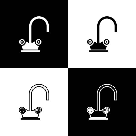 Set Water tap icon isolated on black and white background. Vector Illustration Archivio Fotografico - 138471793