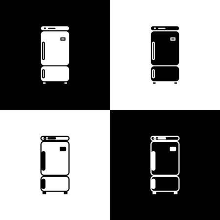 Set Refrigerator icon isolated on black and white background. Fridge freezer refrigerator. Household tech and appliances. Vector Illustration Archivio Fotografico - 138471849
