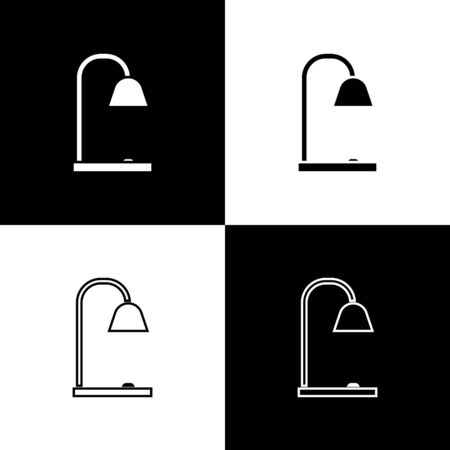 Set Table lamp icon isolated on black and white background. Vector Illustration
