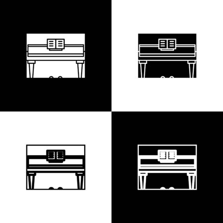Set Grand piano icon isolated on black and white background. Musical instrument. Vector Illustration Foto de archivo - 138471455