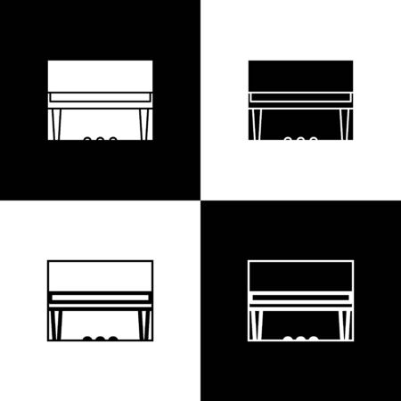 Set Grand piano icon isolated on black and white background. Musical instrument. Vector Illustration Ilustração
