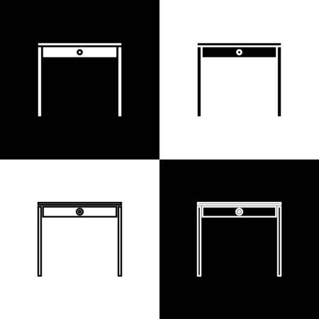 Set Wooden table icon isolated on black and white background. Vector Illustration Archivio Fotografico - 138471422