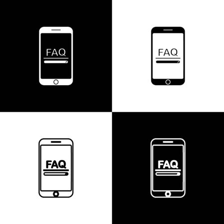 Set Mobile phone with text FAQ information icon isolated on black and white background. Frequently asked questions. Vector Illustration Illustration