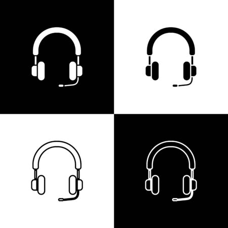 Set Headphones icon isolated on black and white background. Earphones. Concept for listening to music, service, communication and operator. Vector Illustration Foto de archivo - 138471897