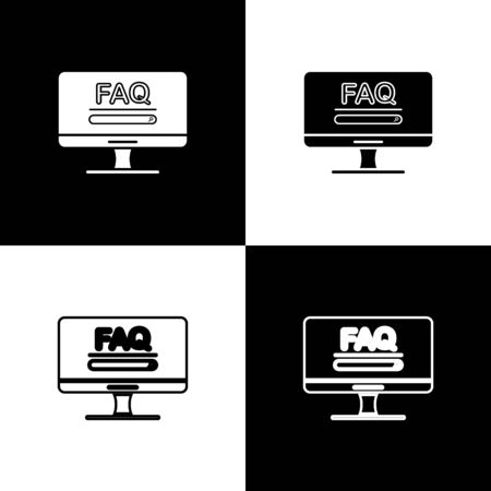 Set Computer monitor with text FAQ information icon isolated on black and white background. Frequently asked questions. Vector Illustration