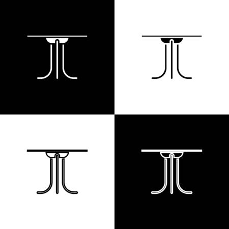 Set Round table icon isolated on black and white background. Vector Illustration Archivio Fotografico - 138471901